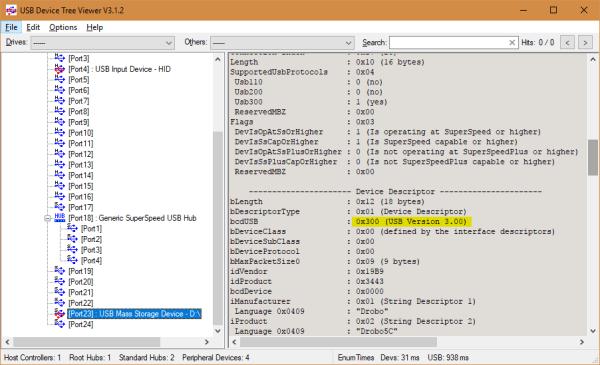 USB Device Tree Viewer V3.1.2 2017 09 11 09 38 44 600x365 - Why My Drobo 5C DAS Storage is So Slow?