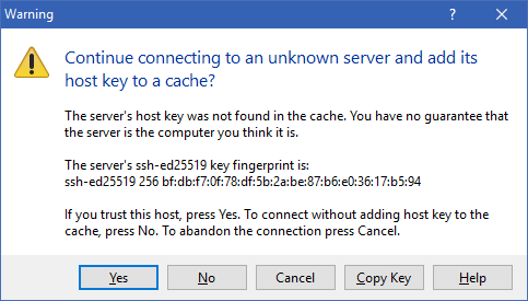 WinSCP - SSH Warning