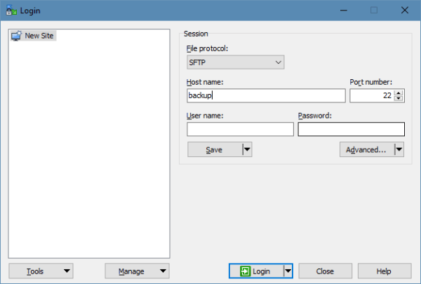 WinSCP - connection screen
