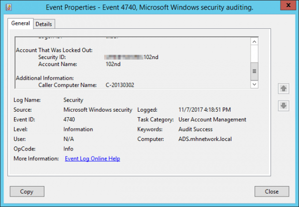 Event Viewer 4740 event 600x417 - Why My Windows Active Directory Domain Account is Locked out?