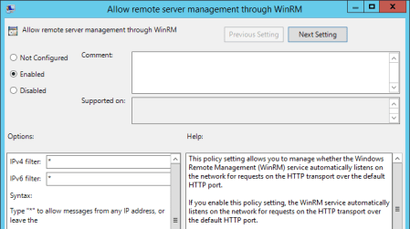 Group Policy Allow remote server management through dialog - Group Policy - Allow remote server management through dialog