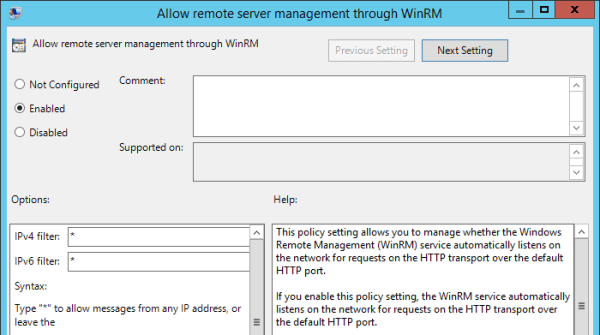 Group Policy Allow remote server management through dialog 600x335 - How To Enable WinRM with Domain Group Policy for PowerShell Remoting