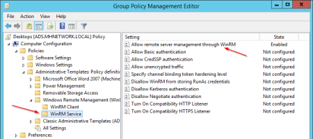 Group Policy Allow remote server management through - Group Policy - Allow remote server management through