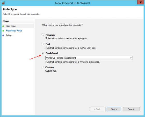 Group Policy - New Inbound Rule wizard 1