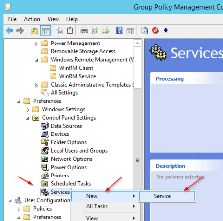 Group Policy - New service