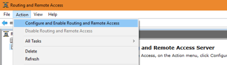 Routing and Remote Access Action - Routing and Remote Access - Action