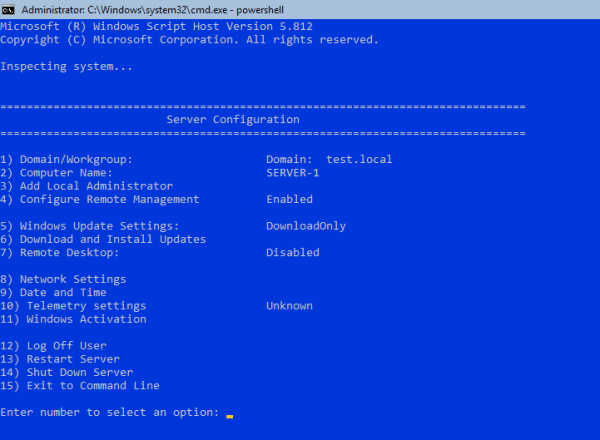 SConfig 600x440 - Setting Up Active Directory, DNS, and DHCP on Server Core using PowerShell