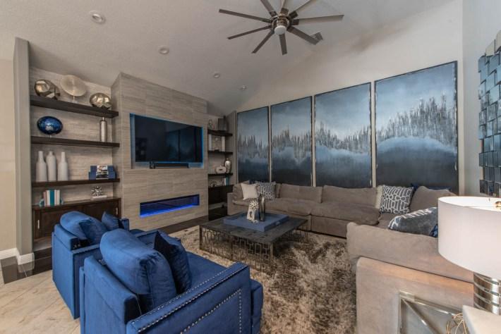 Transitional Entertainment Room Interior Design
