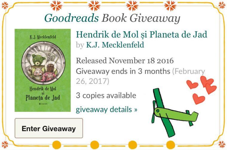 Goodreads giveaway Hendrik de Mol și Planeta de Jad