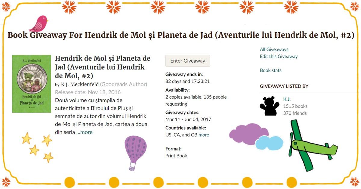 Goodreads giveaway internațional - Hendrik de Mol și Planeta de Jad