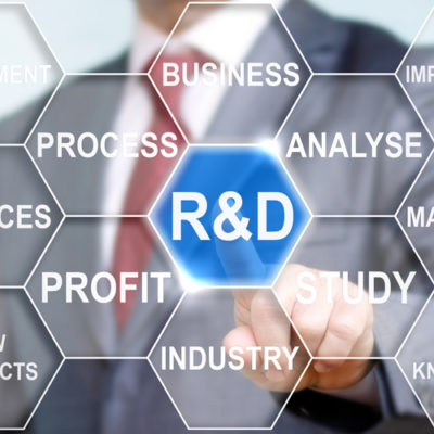 Businessman touched r and d sign. R d icon network business conc