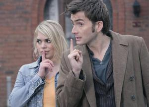 Tenth Doctor and Rose Tyler from the BBC's DOCTOR WHO.