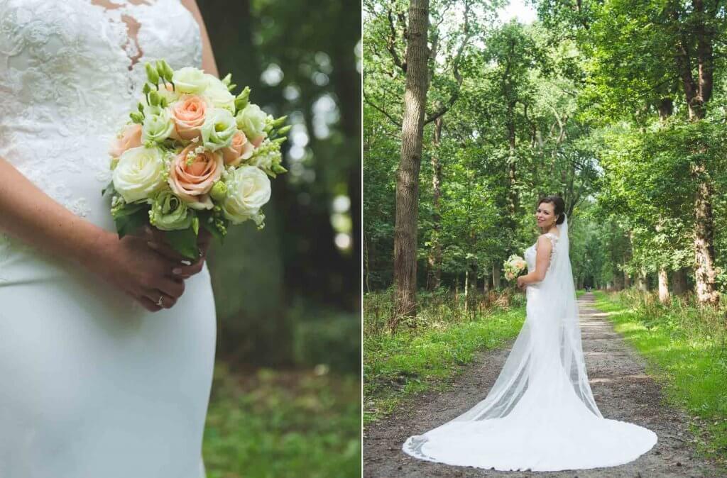 bruid in bos