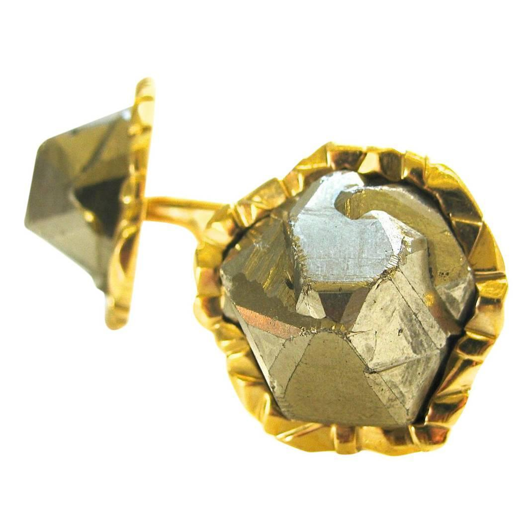 Cartier Pyrite Fools Gold Cuff Links C1970 Kimberly