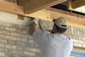 interior wall brick laying