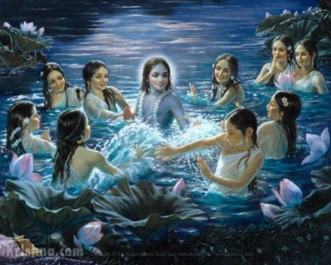 Krishna swims with the Gopis