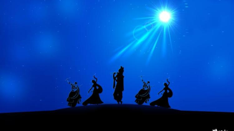 Lord-Krishna-Rass-Leela-in-Night-with-Blue-Background