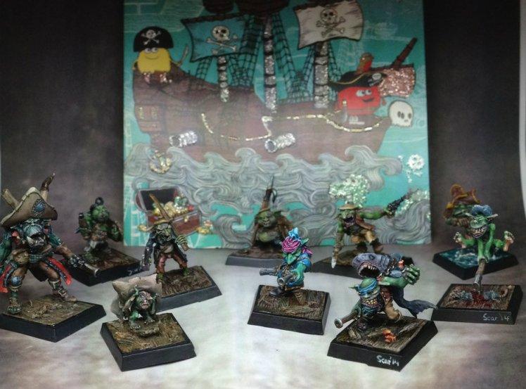 Freebooters Fate, bemalt, Miniatur, Tabletop, Gruppenbild, Goblin
