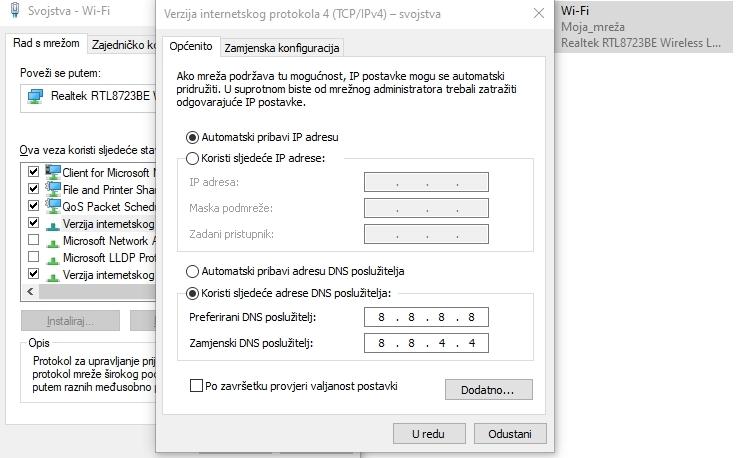 Konfiguracija Google DNS za Windows: Adrese DNS poslužitelja za TCP/IPv4