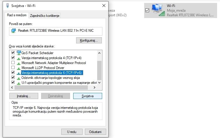 Konfiguracija Google DNS za Windows: Verziju internetskog protokola 6 (TCP/IPv6)