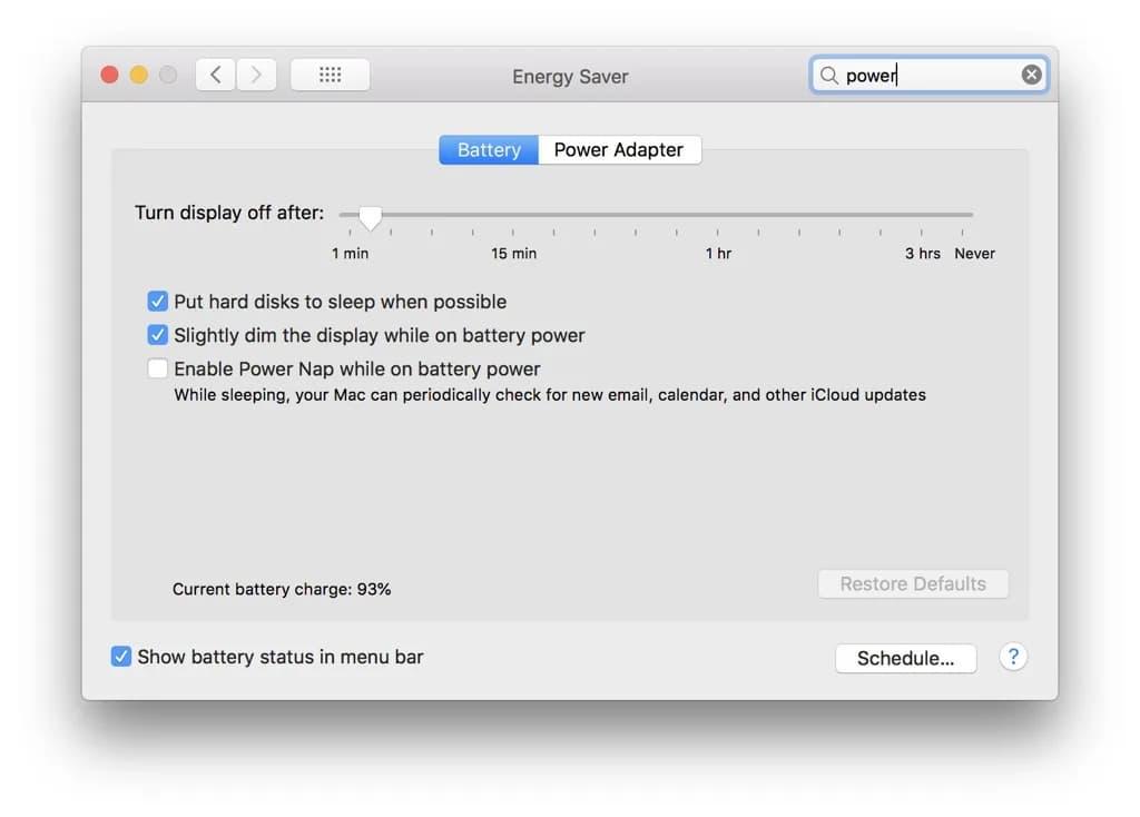 استخدام إعدادات البطارية في macOS