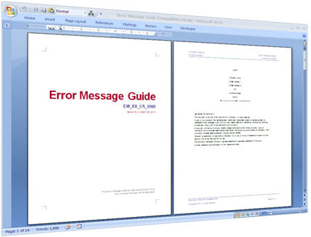Error Message Guide - Cover Page