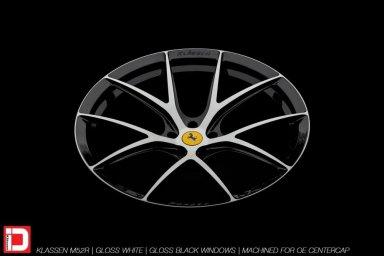 klassen klassenid wheels m52r 21in 21inch forged custom monoblock two tone ferrari white black gloss 488 gtb