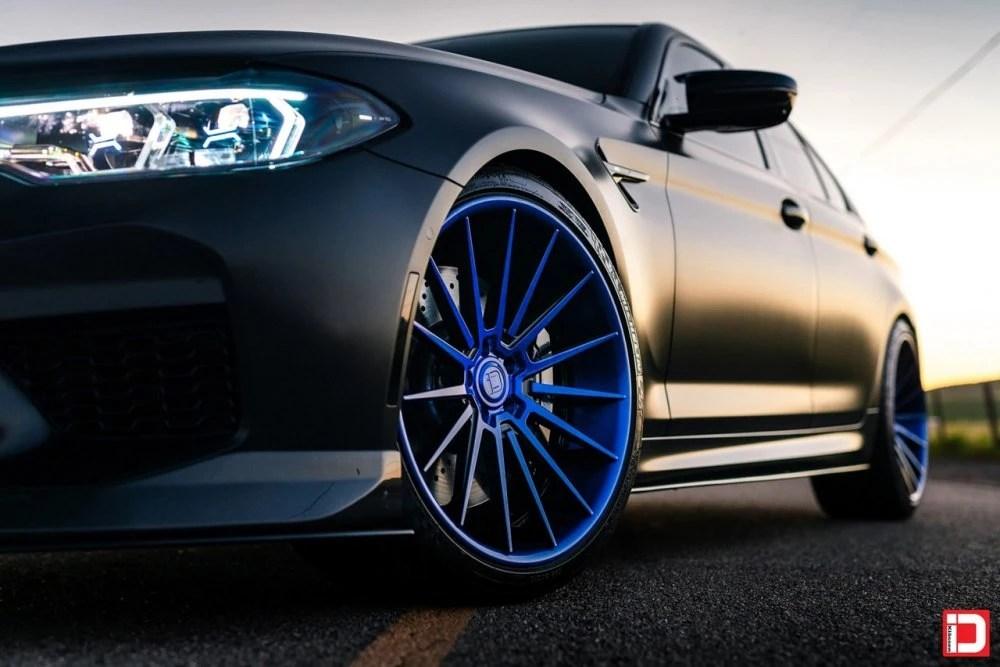 klassen klassenid klassenidwheels wheels rim stance bmw f90 m5 matte black kartunz 15 spoke multispoke bmwm performance twin turbo v8 blue brushed gloss black reverse lip