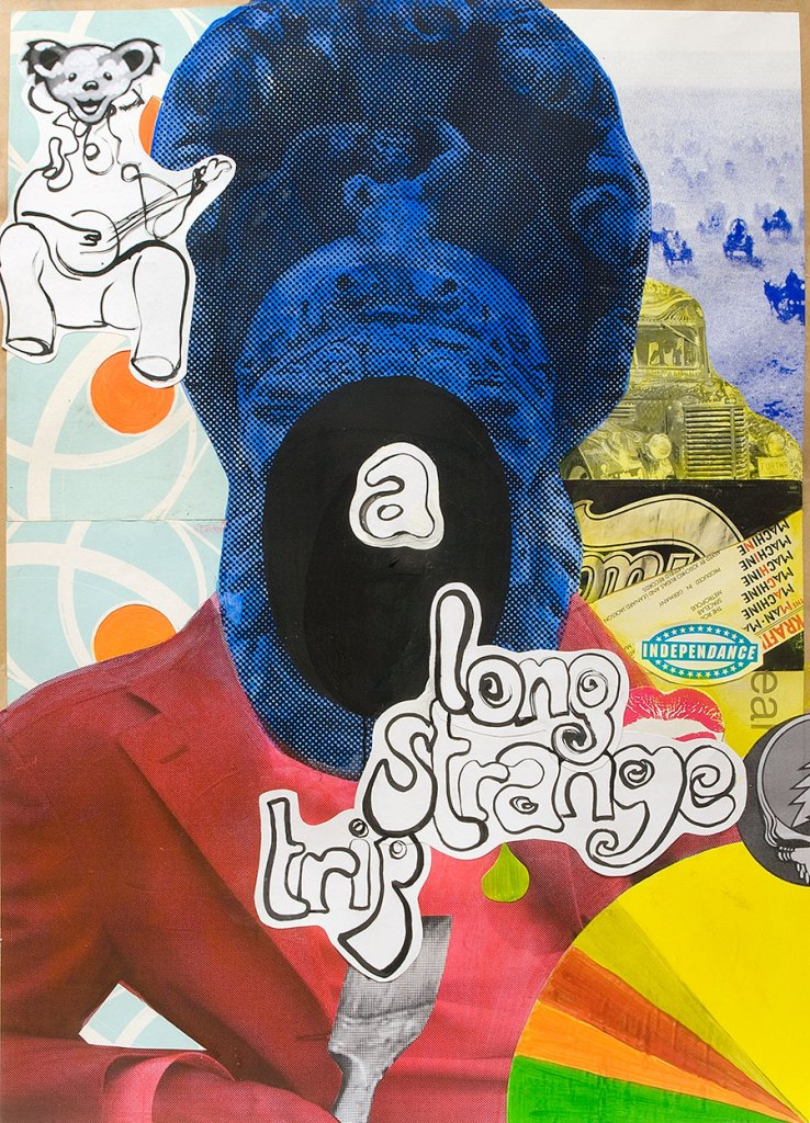 Klaus Killisch, a long strange trip, 2008, ink, collage on paper, 140x100cm