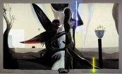 Klaus Killisch, Fest im Griff, 1993, oil, acrylic paint, neon tubes, flowers on canvas, 280 x 480cm / 110.2 x 189 inch