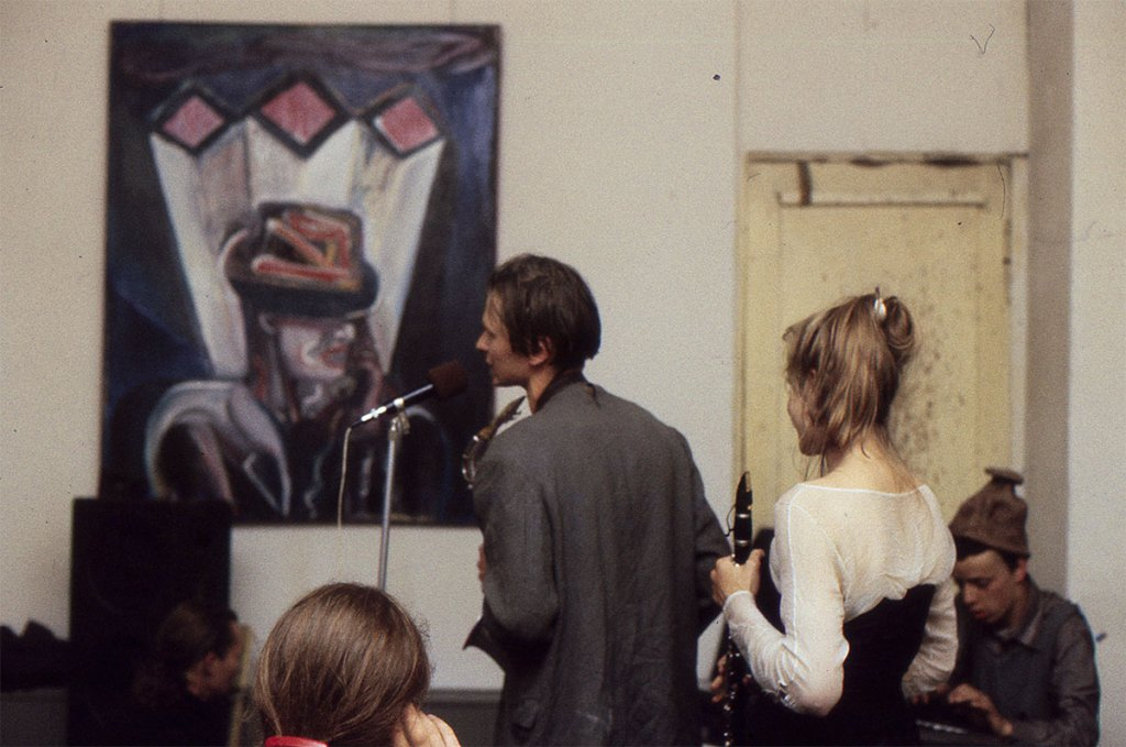 Klaus Killisch, opening @ Zinnober in East Berlin, 1988, with band Ornament & Verbrechen