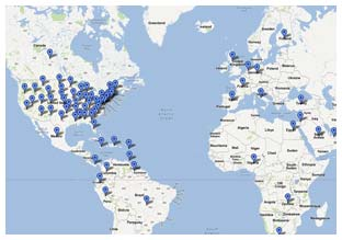 View the map of where K&L has provide heavy or industrial machinery clutch and transmission parts.