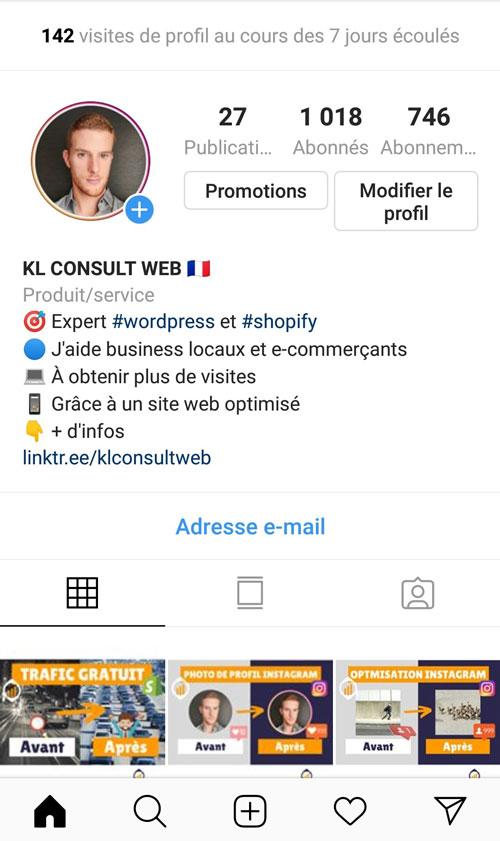 Compte Instagram de KL Consult Web