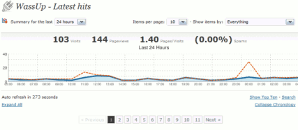 screenshot WassUp statistiche in tempo reale per WordPress
