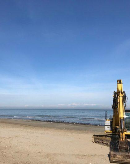 Spiaggia dell'Alba di Riccione con Gru e promontorio Gabicce d'inverno