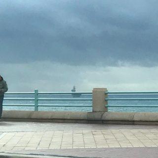 la nave militare Cavour che sta entrando in porto a Genova