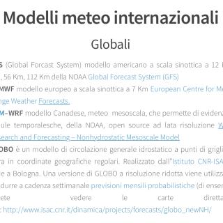 Screenshot articolo Modelli meteo
