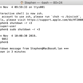 Screenshot come riavviare un Mac OS X mediante riga dii comando e terminale