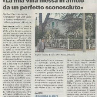"""scansione de """"la mia villa messa in affitto da un perfetto sconosciuto"""" - Il Resto del Carlino del 24 marzo 2021"""