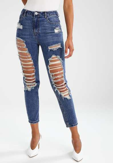 Cropped jeans hoge taille