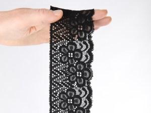 Gothic ❤️ Spitzenborte elastisch 30 mm ❤️ 5m SPITZE Wäschespitze Schwarz