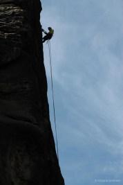 Kletterer am Schrammtorfelsen