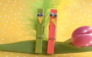 Basteln mit Wäscheklammern – lustige Vögel als Frühlingsdeko