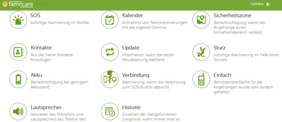 Funktionen famil.care senior app
