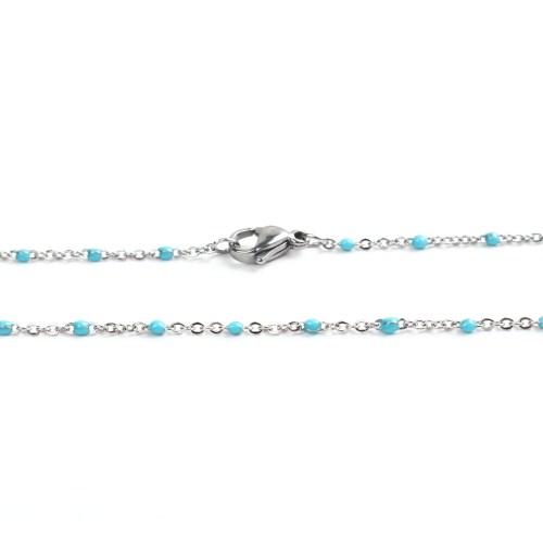 Sommerkette silber-türkis 45 cm