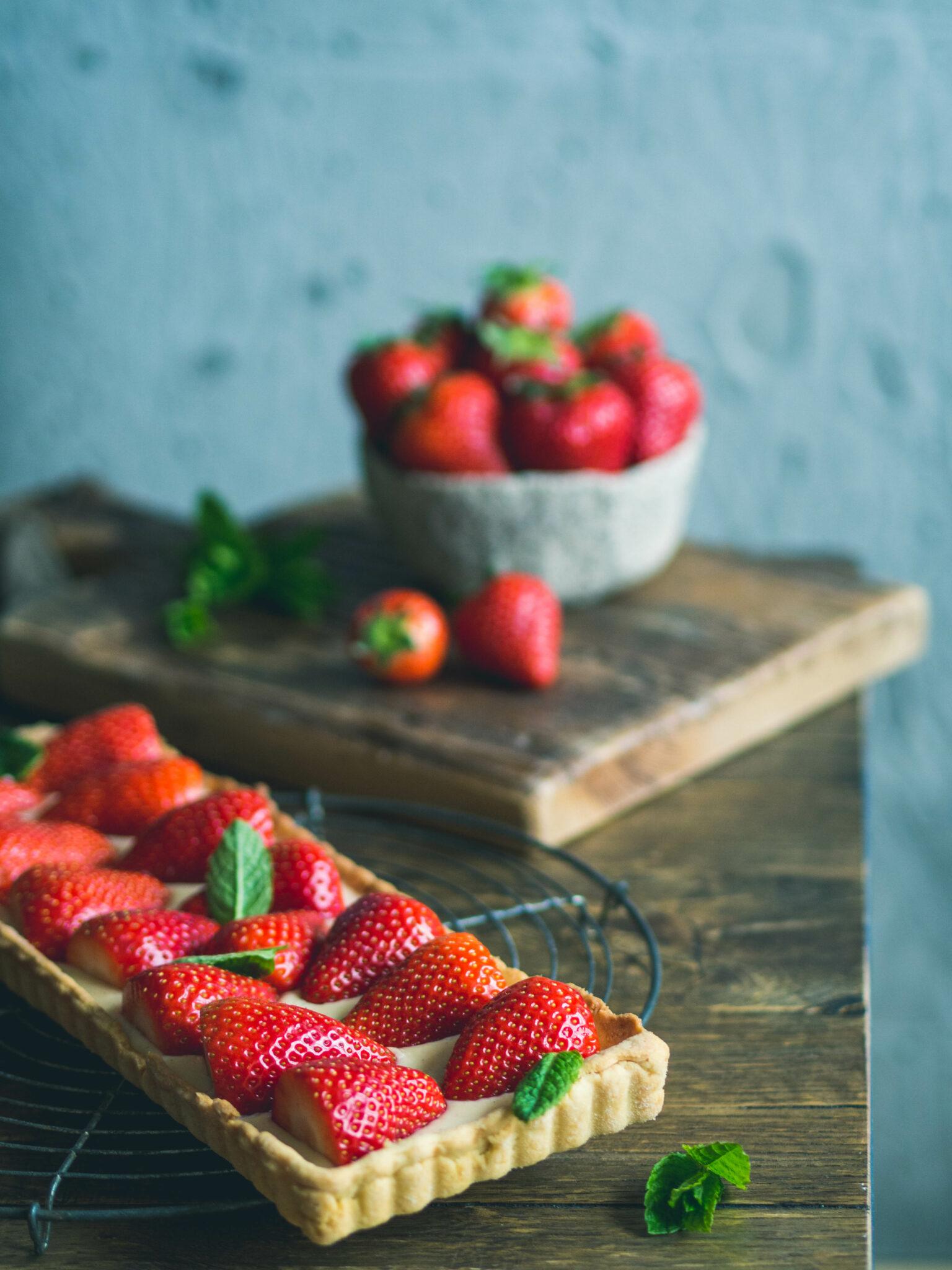 Erdbeer Tarte mit Vanillepudding