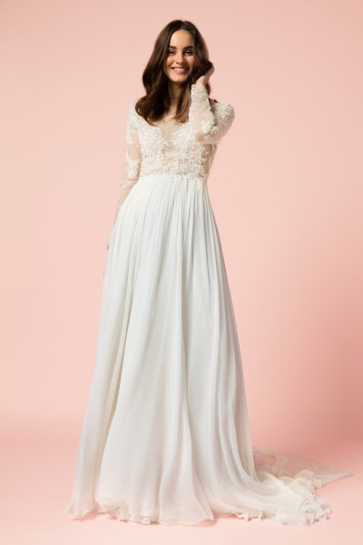 Long Sleeve Sheath Wedding Dress   Kleinfeld Bridal