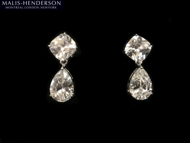 Category  Jewelry   Gifts   Kleinfeld Bridal Style  PLUMEER      Crystal Earrings In Silver by Malis Henderson Headpieces    Accessories