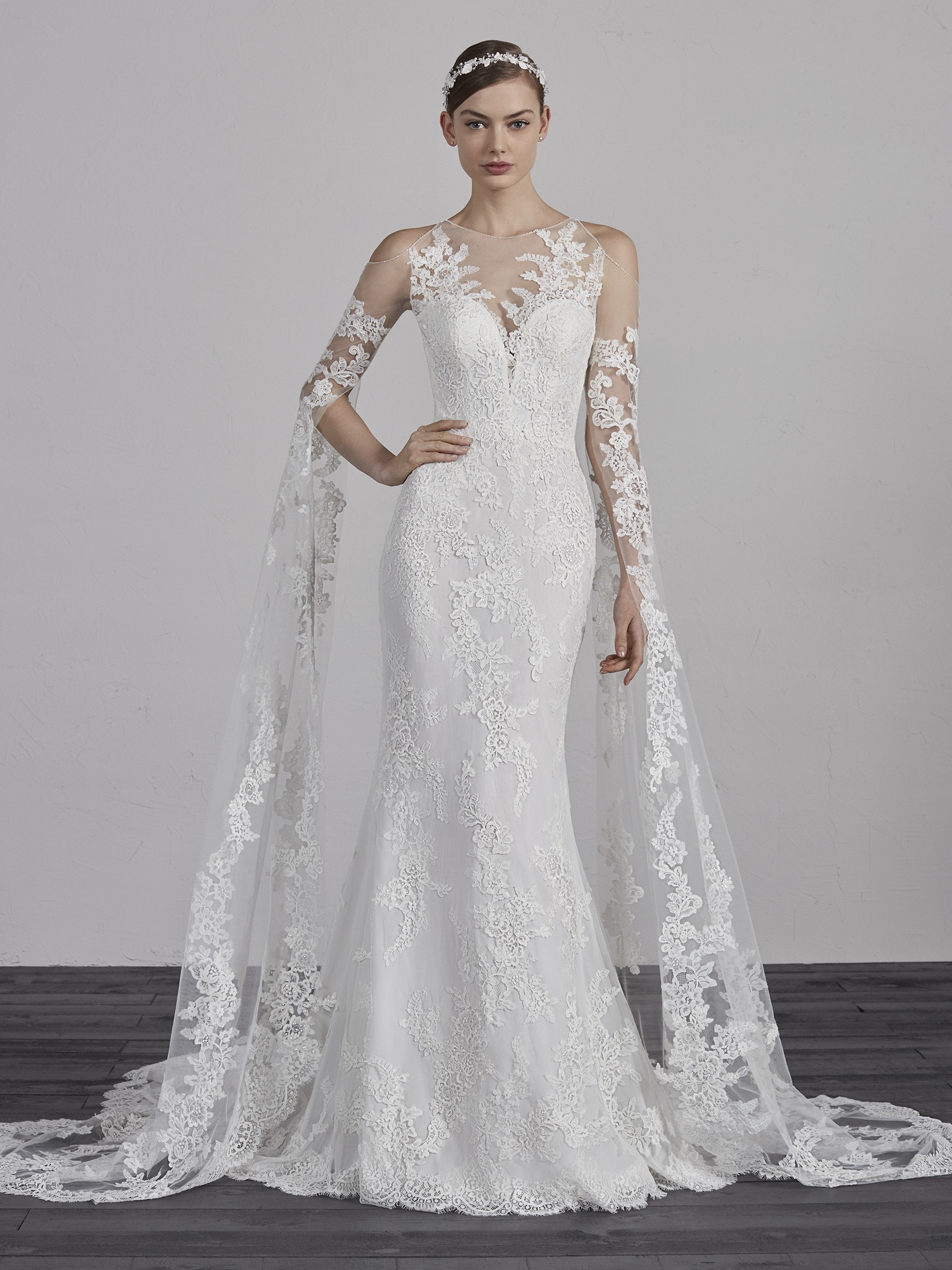 Lace Illusion Sweetheart Neck Cold Shoulder Floor Length Sleeves     Lace Illusion Sweetheart Neck Cold Shoulder Floor Length Sleeves Mermaid Wedding  Dress   Kleinfeld Bridal