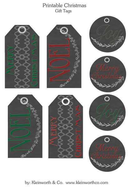free printable gift tags from Kleinworthco.com